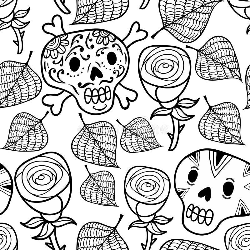 Γραπτή άνευ ραφής απεικόνιση με τα τριαντάφυλλα και τα κρανία ζάχαρης διανυσματική απεικόνιση