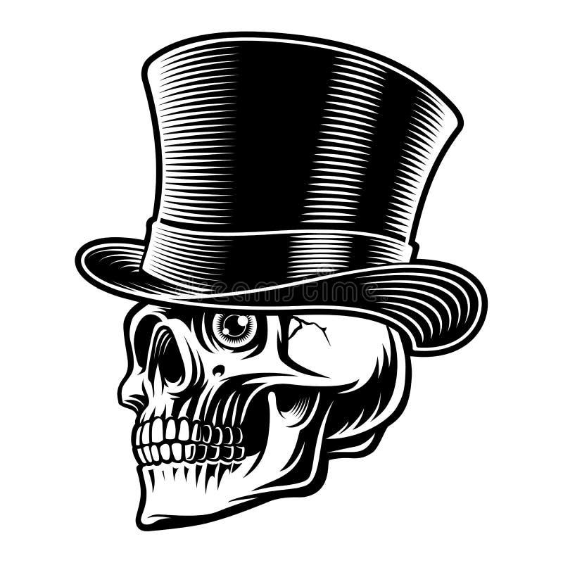 Γραπτή απεικόνιση ενός κρανίου στο τοπ καπέλο διανυσματική απεικόνιση