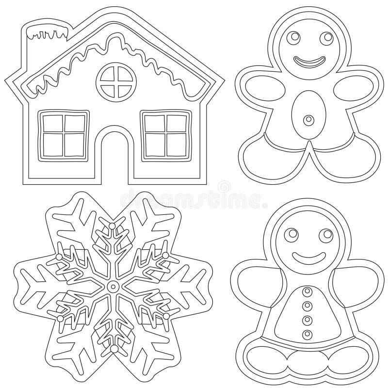 Γραπτή αφίσα μελοψωμάτων - σπίτι, άνδρας, γυναίκα, snowflake απεικόνιση αποθεμάτων