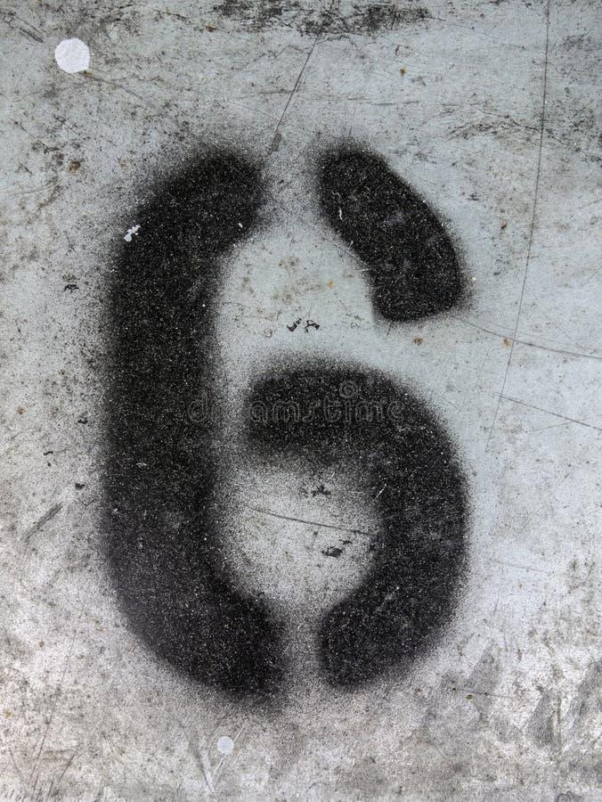 Γραπτή διατύπωση στο στενοχωρημένο κρατικό τυπογραφία αριθμό έξι 6 στοκ εικόνα