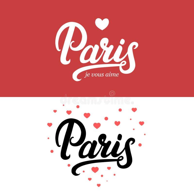 Γραπτή εγγραφή καλλιγραφίας του Παρισιού χέρι ελεύθερη απεικόνιση δικαιώματος