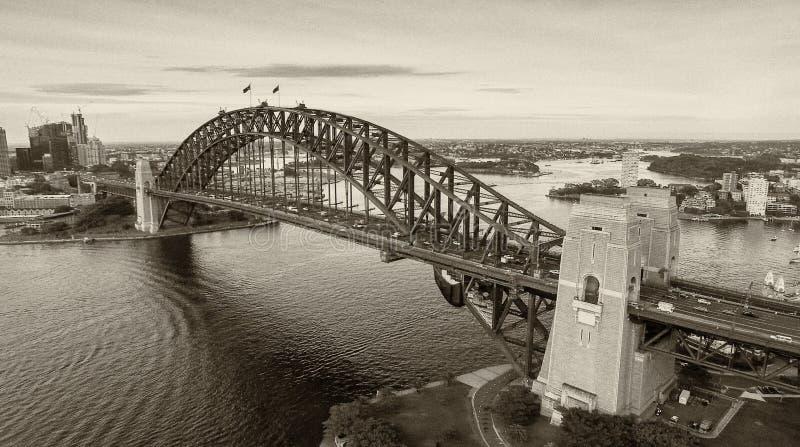 Γραπτή εναέρια άποψη του λιμανιού του Σίδνεϊ, Αυστραλία στοκ εικόνες με δικαίωμα ελεύθερης χρήσης