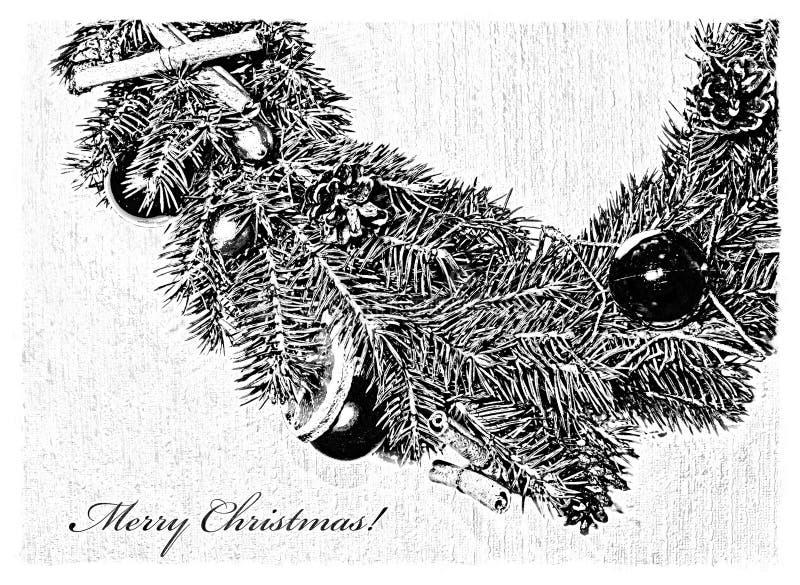Γραπτή κάρτα Χαρούμενα Χριστούγεννας με το στεφάνι ελεύθερη απεικόνιση δικαιώματος