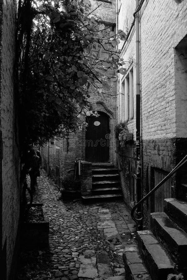 Γραπτή οδός στο Μπρυζ Βέλγιο στοκ εικόνα