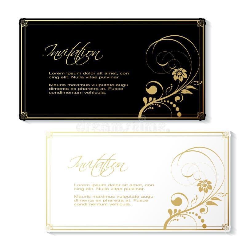 Γραπτή πρόσκληση με το χρυσό floral σχέδιο και το χρυσό διακοσμητικό πλαίσιο Χρήση καρτών για το έμβλημα, γενέθλια, γάμος, απόδει ελεύθερη απεικόνιση δικαιώματος