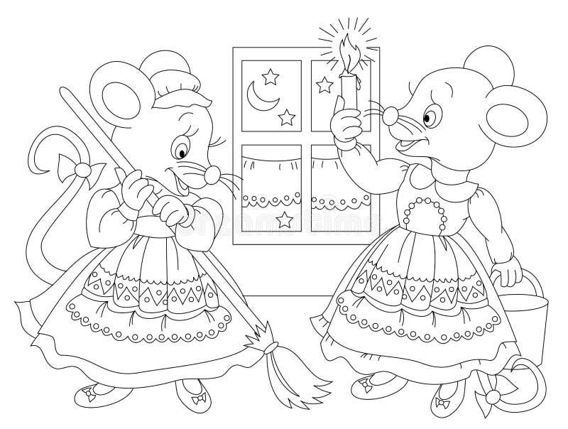 Γραπτή σελίδα για το χρωματίζοντας βιβλίο μωρών Σχέδιο δύο χαριτωμένων ποντικιών που καθαρίζει το σπίτι τους Εκτυπώσιμο πρότυπο γ διανυσματική απεικόνιση