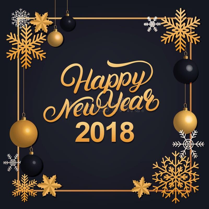 Γραπτή χέρι εγγραφή καλής χρονιάς 2018 με τη χρυσή διακόσμηση διακοσμήσεων απεικόνιση αποθεμάτων