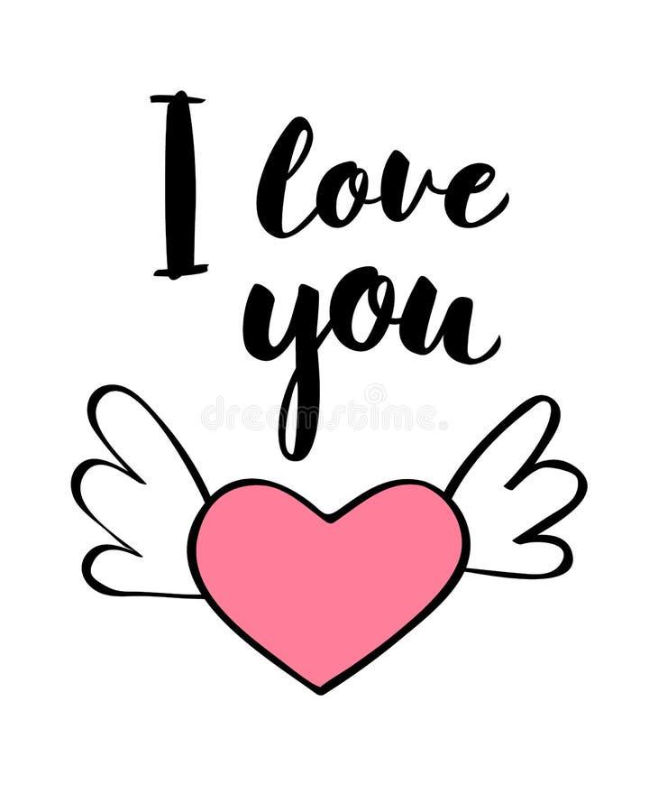 Γραπτή χέρι εγγραφή σ' αγαπώ και μορφή καρδιών για την κάρτα ημέρας βαλεντίνων, την αφίσα, την τυπωμένη ύλη μπλουζών ή την ετικέτ διανυσματική απεικόνιση