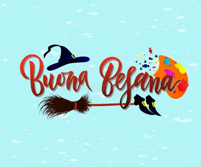 Γραπτή χέρι φράση Buona Befana εγγραφής βουρτσών στο μπλε διανυσματική απεικόνιση