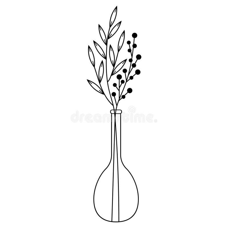 Γραπτοί κλάδοι doodle με τα φύλλα σε ένα βάζο απεικόνιση αποθεμάτων