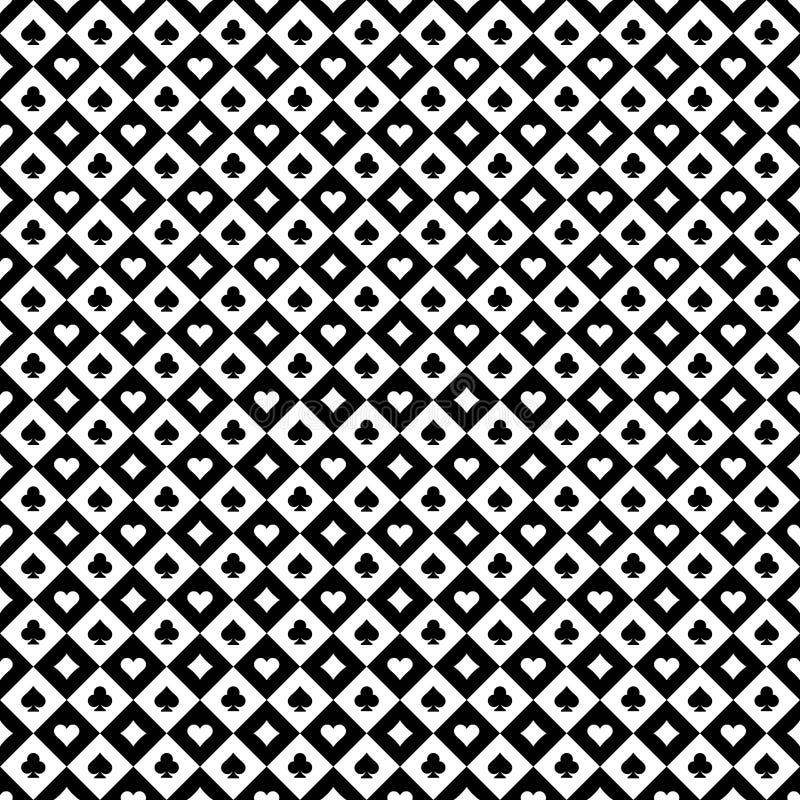 Γραπτός ελεγμένος άνευ ραφής χαρτοπαικτικών λεσχών σημαδιών καρτών παιχνιδιού διανυσματική απεικόνιση