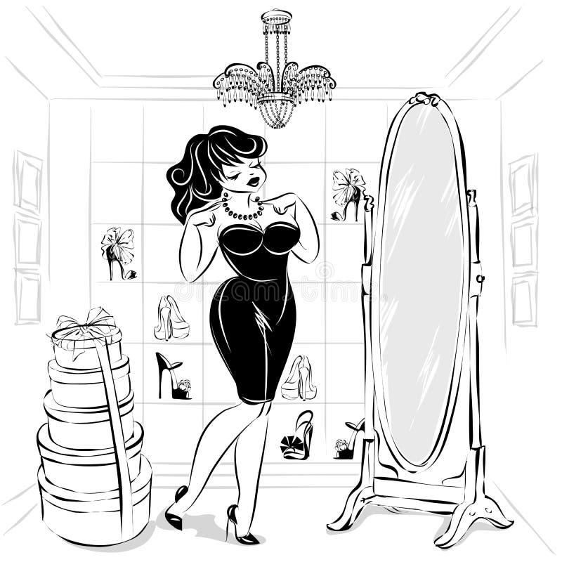 Γραπτός καρφίτσα-επάνω στην προκλητική γυναίκα στο κατάστημα μόδας δοκιμάστε το φόρεμα και τα παπούτσια μπροστά από τον καθρέφτη, ελεύθερη απεικόνιση δικαιώματος
