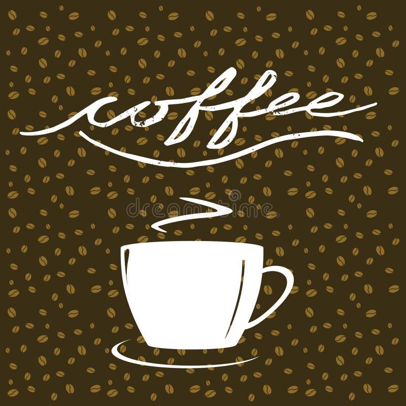 Γραπτός χέρι καφές λέξης, φλιτζάνι του καφέ στο υπόβαθρο καφέ απεικόνιση αποθεμάτων