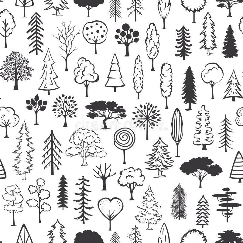 Γραπτό άνευ ραφής σχέδιο δέντρων doodle διανυσματική απεικόνιση