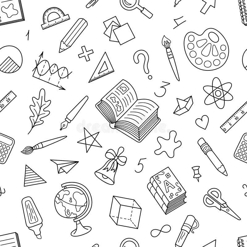 Γραπτό άνευ ραφής σχέδιο των σχολικών χαρτικών ελεύθερη απεικόνιση δικαιώματος