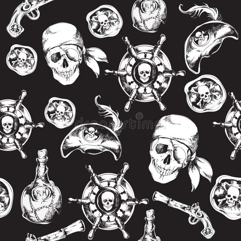 Γραπτό άνευ ραφής σχέδιο πειρατών ελεύθερη απεικόνιση δικαιώματος