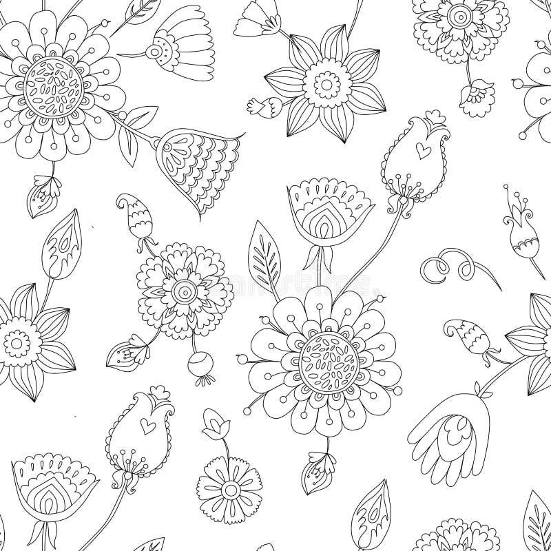 Γραπτό άνευ ραφής floral σχέδιο, χρωματισμός σελίδων για τους ενηλίκους ελεύθερη απεικόνιση δικαιώματος