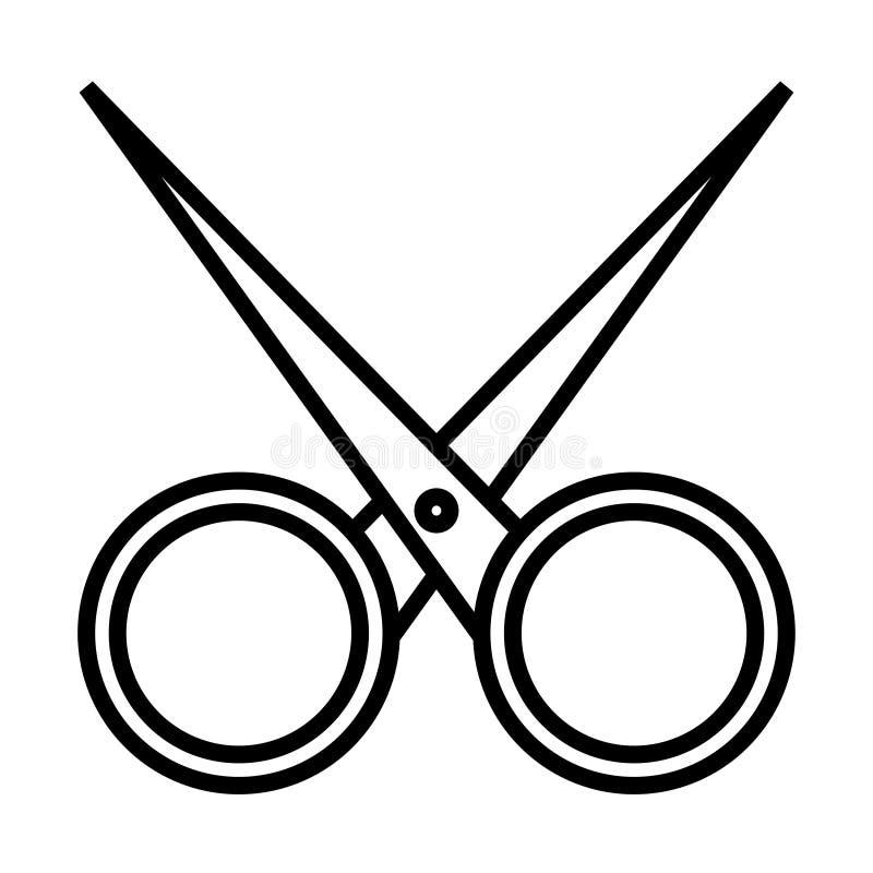 Γραπτό απλό γραμμικό εικονίδιο καθιερώνον τη μόδα γοητευτικό αιχμηρό hairdressing μετάλλων, ψαλίδι καρφιών για τα τέμνοντα καρφιά διανυσματική απεικόνιση