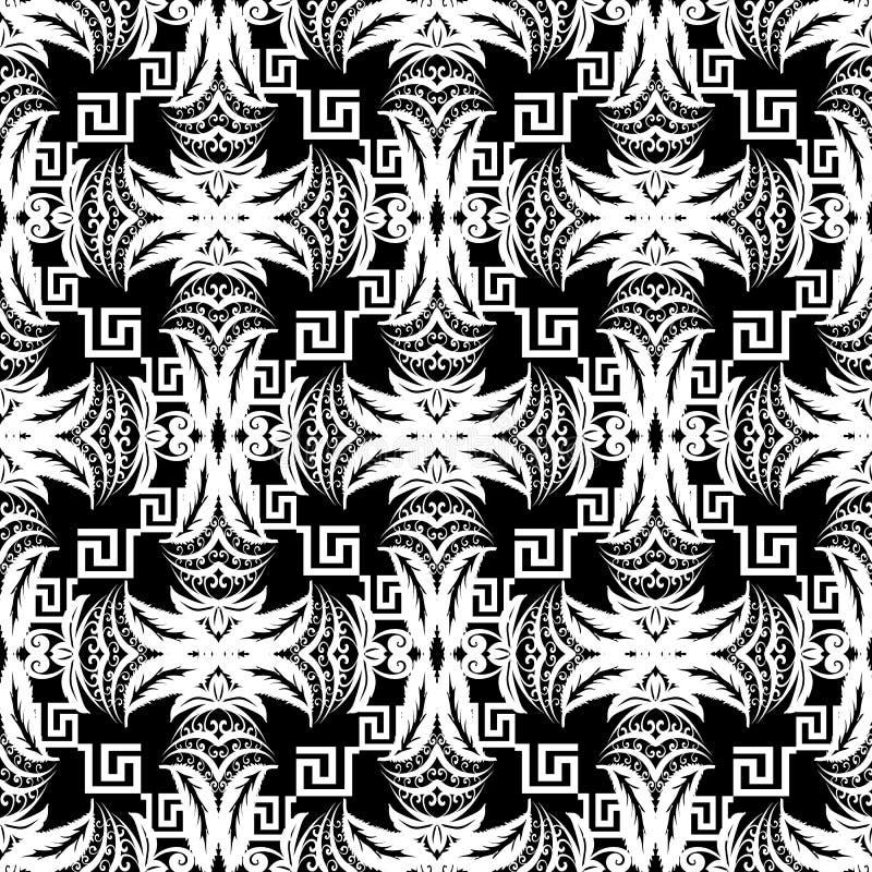 Γραπτό αφηρημένο floral διανυσματικό άνευ ραφής σχέδιο Geometr διανυσματική απεικόνιση