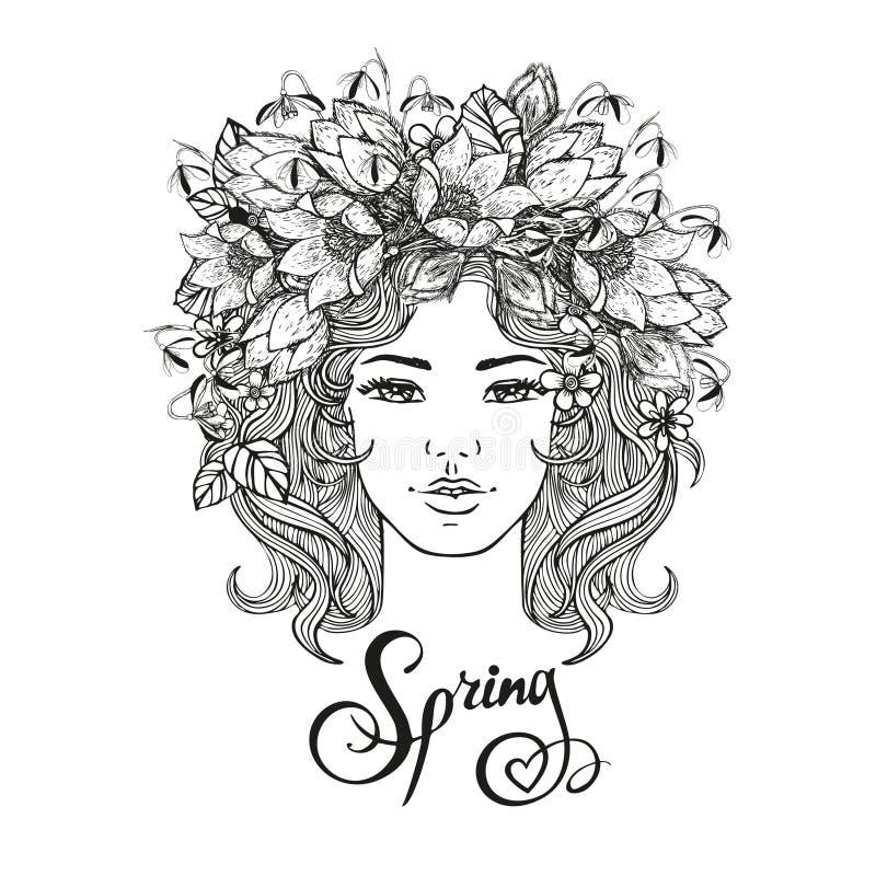 Γραπτό διανυσματικό διακοσμητικό hairstyle κοριτσιών με τα λουλούδια, φύλλα στην τρίχα στο ύφος doodle Φύση, περίκομψος, floral ελεύθερη απεικόνιση δικαιώματος