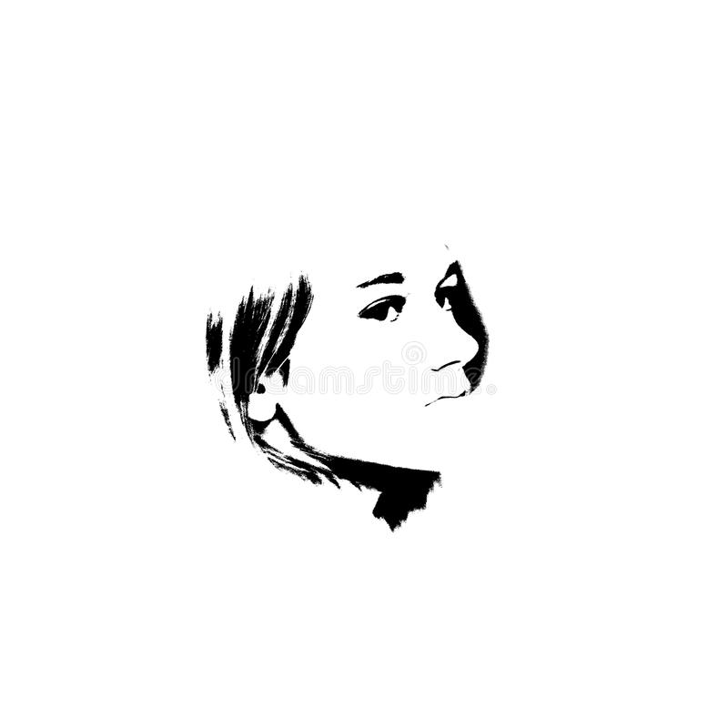 Γραπτό πορτρέτο του νέου όμορφου κοριτσιού ελεύθερη απεικόνιση δικαιώματος