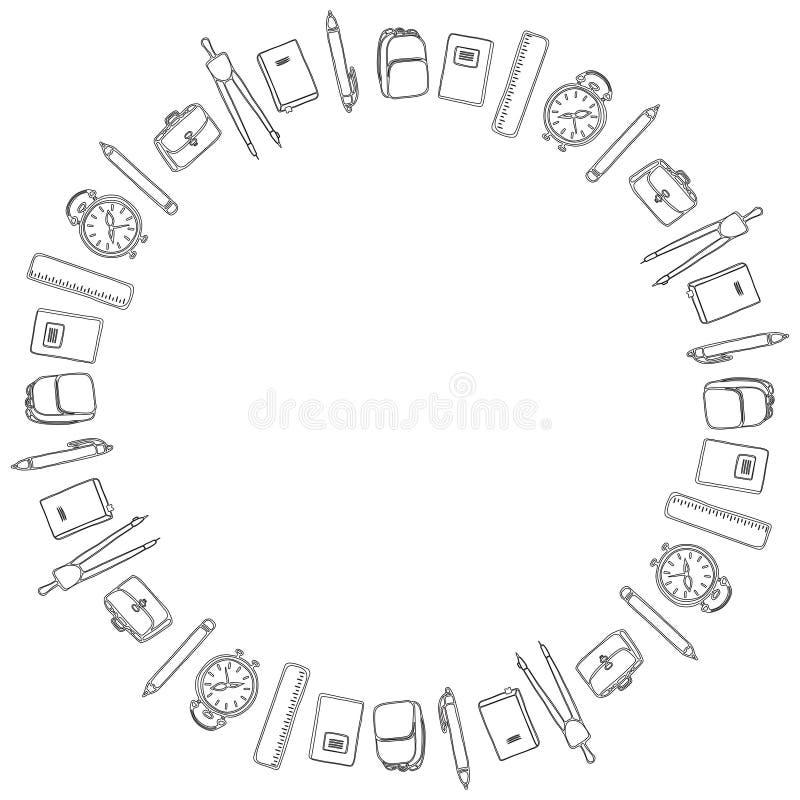 Γραπτό πρότυπο για την 1η Σεπτεμβρίου Στρογγυλό πλαίσιο των στυλών, των μολυβιών, των πυξίδων, των σημειωματάριων, των εγχειριδίω απεικόνιση αποθεμάτων