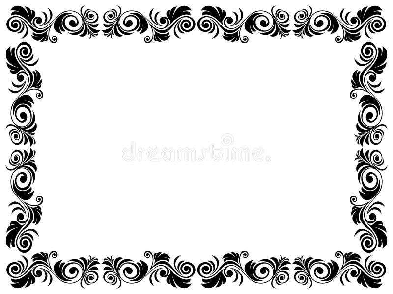 Γραπτό πλαίσιο του κενού με το floral στοιχείο ελεύθερη απεικόνιση δικαιώματος