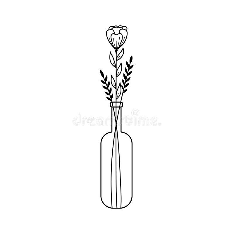 Γραπτό συρμένο χέρι doodle λουλούδι και μαύροι κλάδοι σε ένα μπουκάλι ελεύθερη απεικόνιση δικαιώματος