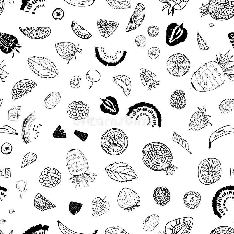 Γραπτό σχέδιο υποβάθρου τυπωμένων υλών σχεδίων θερινών φρούτων άνευ ραφής ελεύθερη απεικόνιση δικαιώματος