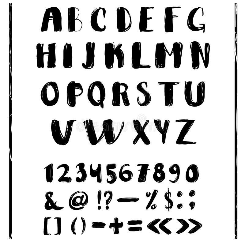 Γραπτό σχέδιο αλφάβητου εγγραφής χεριών διανυσματική απεικόνιση
