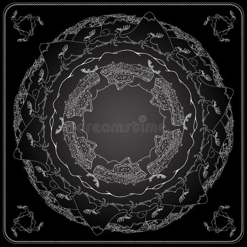 Γραπτό σχέδιο σχεδίων χειμερινού bandana τετραγωνικό διανυσματική απεικόνιση