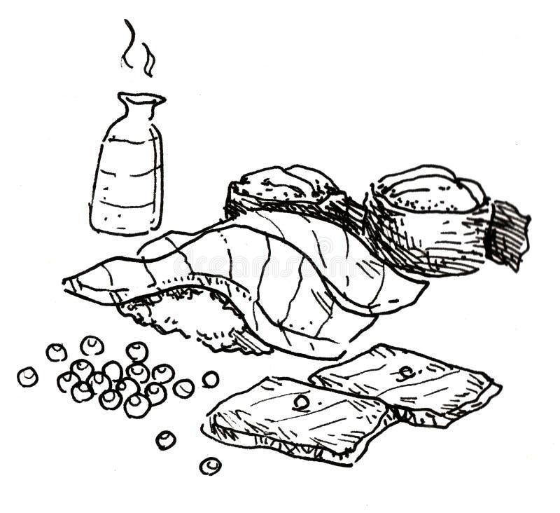 Ιαπωνικό χέρι τροφίμων που σύρεται διανυσματική απεικόνιση