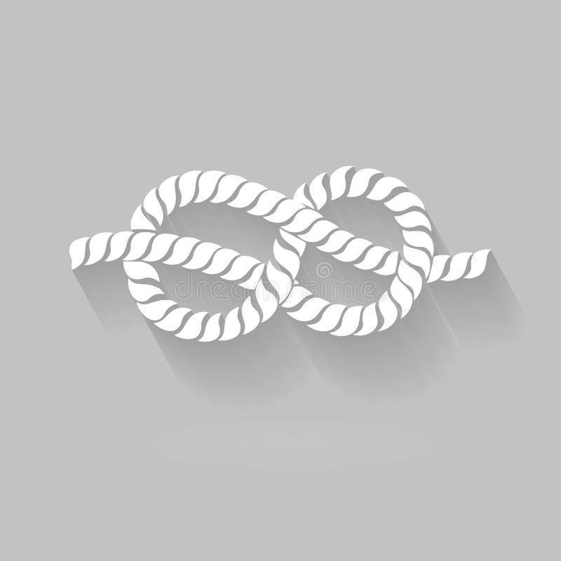 Γραπτό σχοινί οκτώ γραφικό σχέδιο κόμβων διανυσματική απεικόνιση
