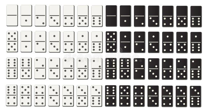Γραπτό σύνολο ντόμινο που τίθεται στο επίπεδο ύφος σχεδίου απεικόνιση αποθεμάτων
