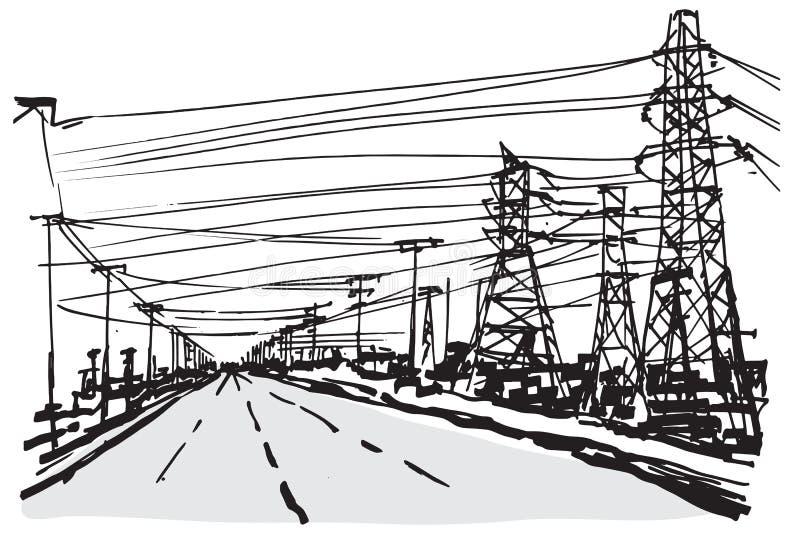 Γραπτό υπόβαθρο σκίτσων με το δίκτυο του διαφορετικού elec διανυσματική απεικόνιση