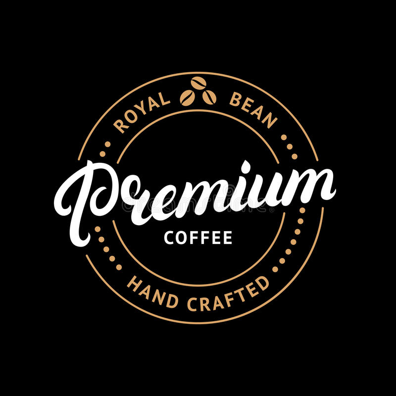 Γραπτό χέρι γράφοντας λογότυπο καφέ ασφαλίστρου, ετικέτα, διακριτικό, έμβλημα ελεύθερη απεικόνιση δικαιώματος