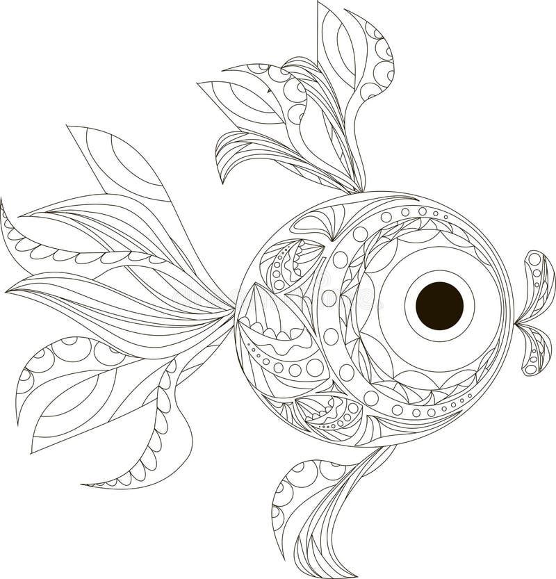 Γραπτό χέρι ψαριών Zentangle τυποποιημένο που σύρεται απεικόνιση αποθεμάτων