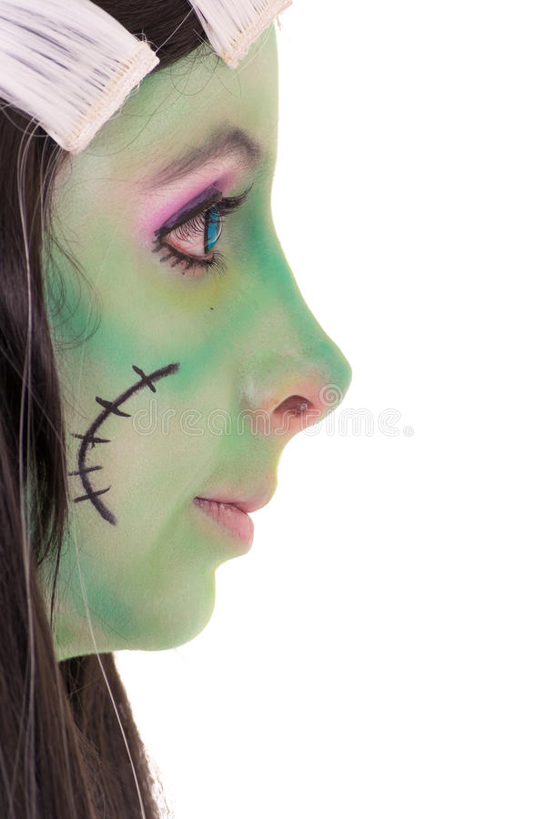 Γραπτό ύφος τρίχας κοριτσιών κοστουμιών. Πράσινος στοκ εικόνες