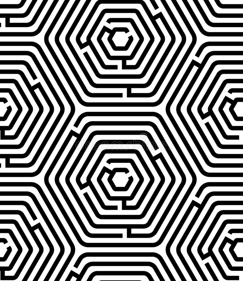 Γραπτό hexagon γεωμετρικό άνευ ραφής σχέδιο γρίφων λαβυρίνθου, διάνυσμα διανυσματική απεικόνιση