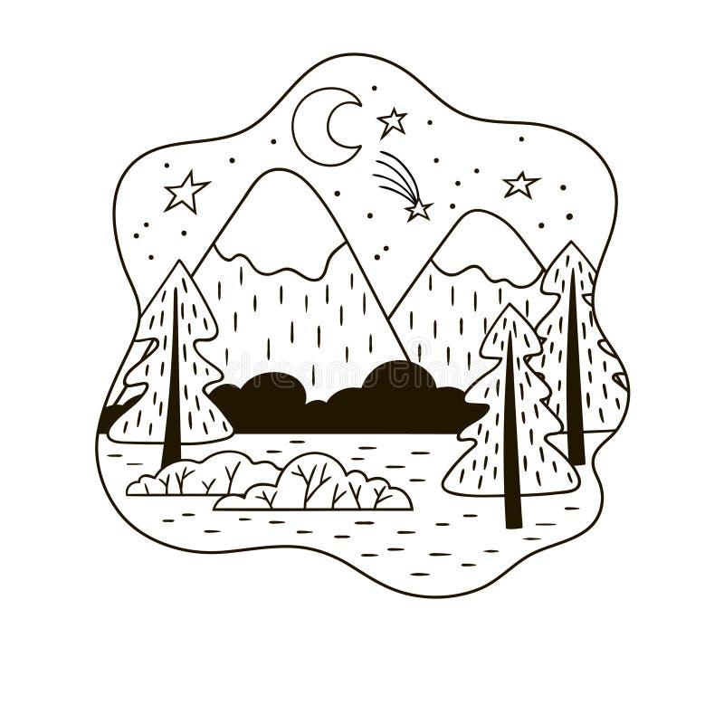 Γραπτό minimalistic τοπίο βουνών με τις ερυθρελάτες απεικόνιση αποθεμάτων