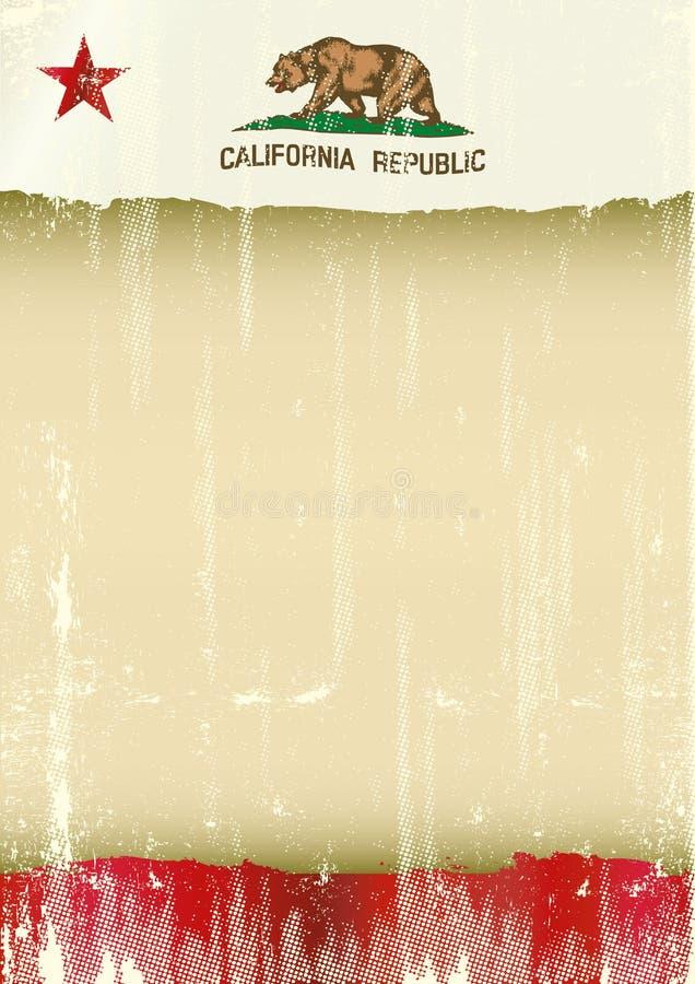 Γρατσουνισμένη αφίσα σημαία Καλιφόρνιας ελεύθερη απεικόνιση δικαιώματος
