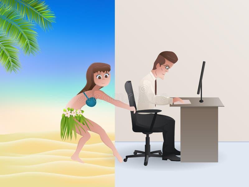 Γραφείο ή παραλία; ελεύθερη απεικόνιση δικαιώματος