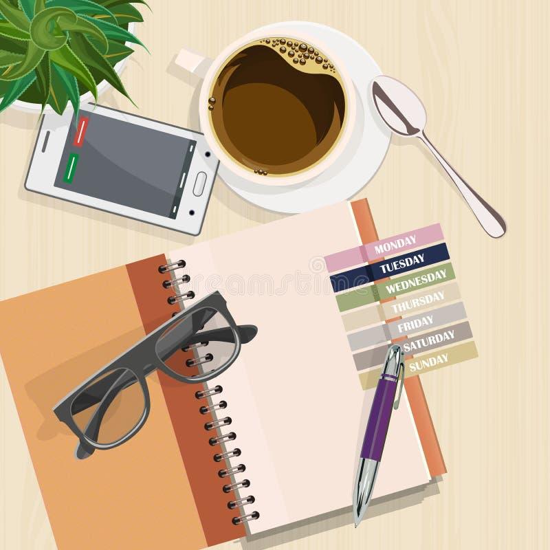 Γραφείο γραφείων με το σημειωματάριο, eyeglasses, τον καφέ και το lap-top διανυσματική απεικόνιση