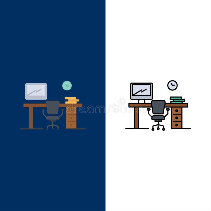 Γραφείο, διάστημα, έδρα, πίνακας γραφείων, εικονίδια δωματίων Επίπεδος και γραμμή γέμισε το καθορισμένο διανυσματικό μπλε υπόβαθρ απεικόνιση αποθεμάτων