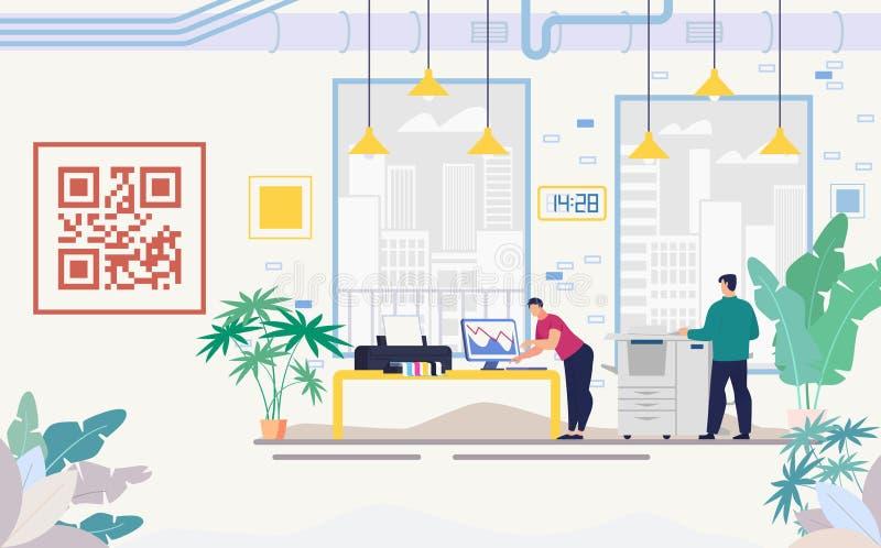 Γραφείο επιχείρησης με το σύγχρονο επίπεδο διάνυσμα εξοπλισμού διανυσματική απεικόνιση