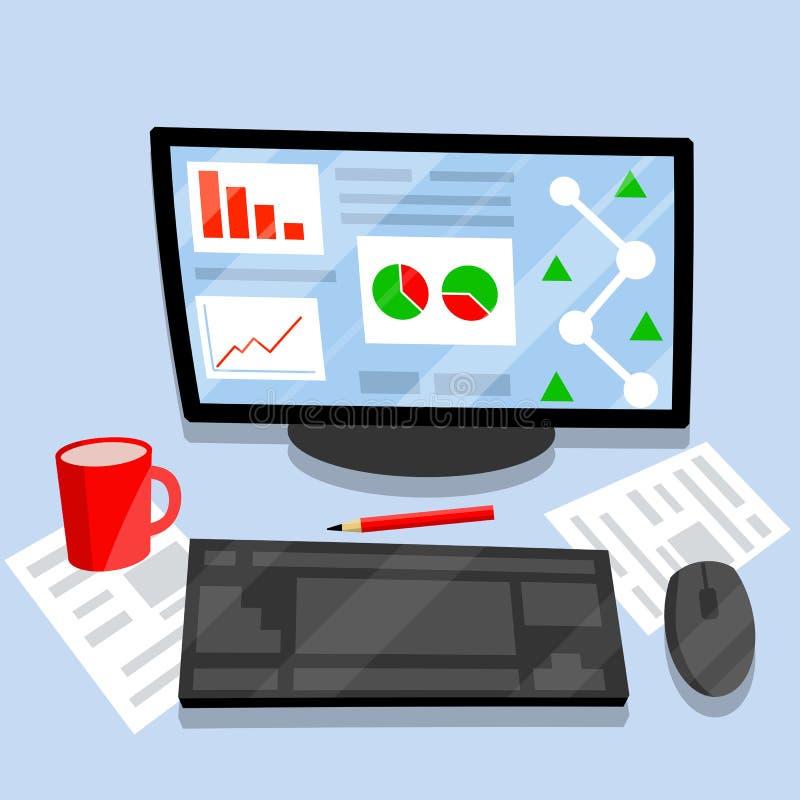 Γραφείο εργασίας με τις προμήθειες γραφείων Επίπεδη απεικόνιση κινούμενων σχεδίων διανυσματική απεικόνιση