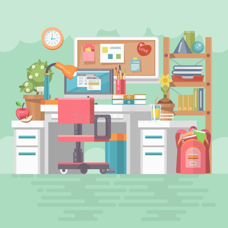Γραφείο εργασίας του σχολικού κοριτσιού με τις σύγχρονους συσκευές, τον υπολογιστή, το PC, τα αρχεία, τις προμήθειες πινάκων, καρ απεικόνιση αποθεμάτων