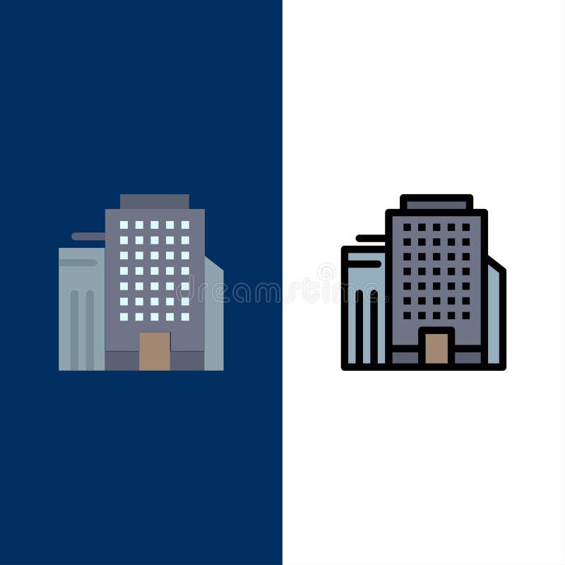 Γραφείο, κτήριο, εικονίδια εργασίας Επίπεδος και γραμμή γέμισε το καθορισμένο διανυσματικό μπλε υπόβαθρο εικονιδίων ελεύθερη απεικόνιση δικαιώματος