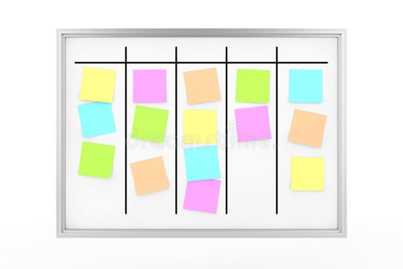 Γραφείο μαγνητικό Whiteboard προγραμματισμού διαδικασίας με τις κολλώδεις σημειώσεις υπομνημάτων χρώματος r απεικόνιση αποθεμάτων