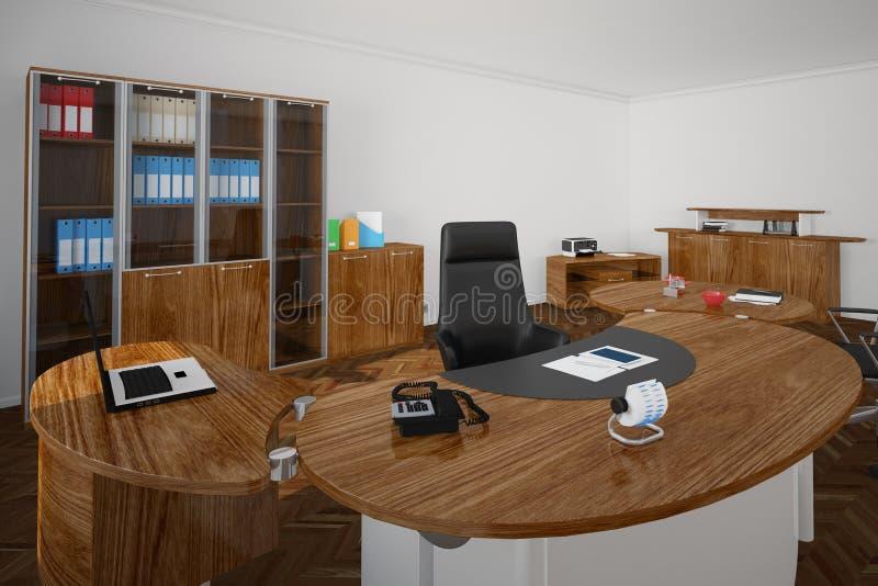 Γραφείο με τα ξύλινα furnitures διανυσματική απεικόνιση
